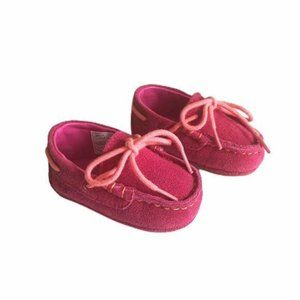 Cole Haan Grant Driver Pink Suede Crib Shoe Sz 1